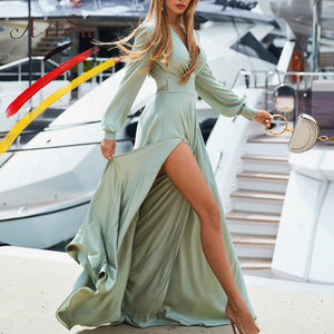 Fashion High Split Women Loose Plain Long Sleeve Sexy Bandage Wrap Boho Maxi Dress Sundress Long Dress