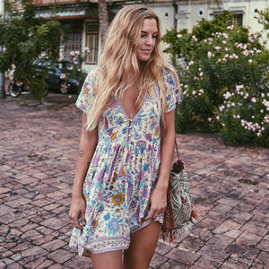 Floral Print V-neck Buttons Loose Bohemian Chic Summer Dresses