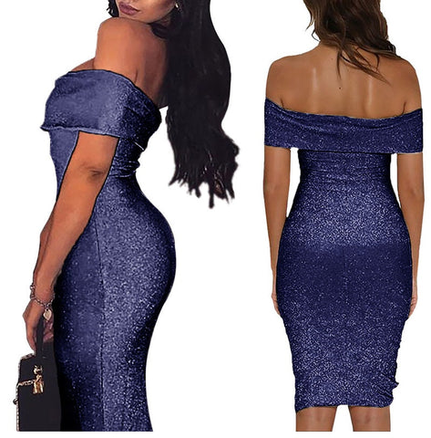 Women Sparkle Fold Off Shoulder Bodycon Glitter Dress for Party Night Clothes