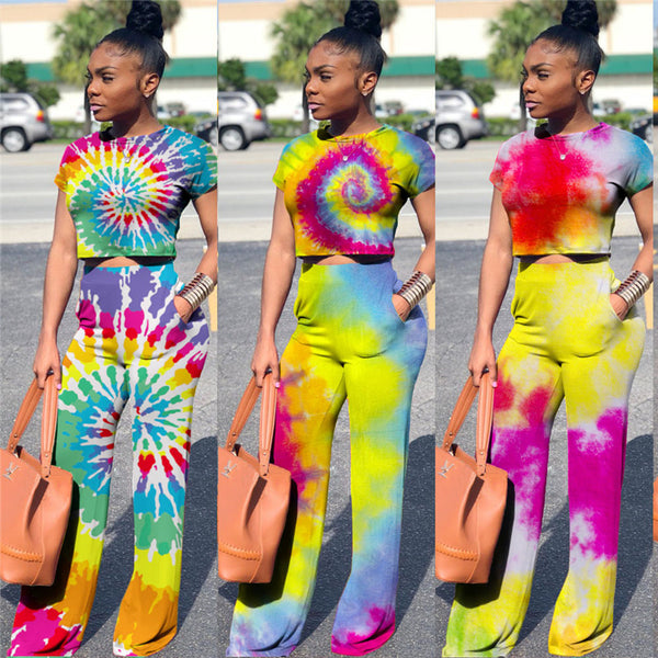Fashion Two Piece Outfits Painting Tie-Dye Short Sleeve Sweatshirt Tops and Wide Leg Pants