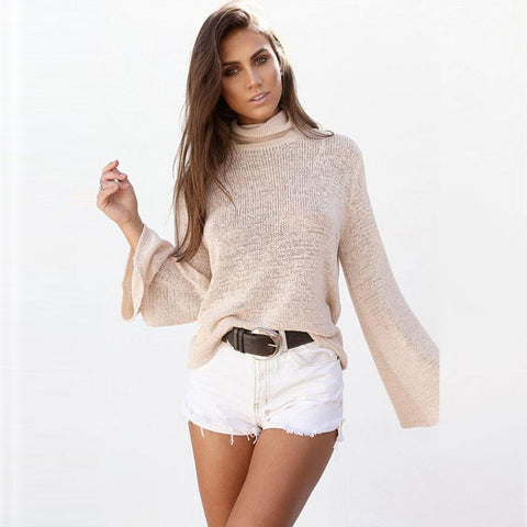 Fashion Long Sleeve Solid Colors Hollow Out Turtle neck Batwing Sleeve Blouse Tops