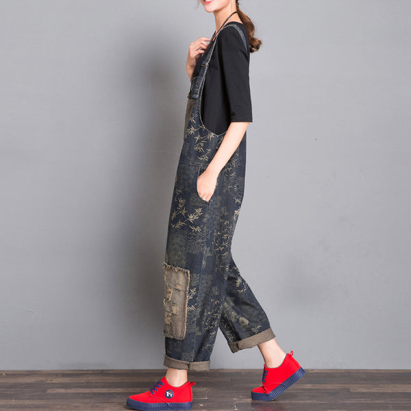 Plus Size Loose Vintage Floral Patch Cloth Sling Denim Jumpsuit overalls