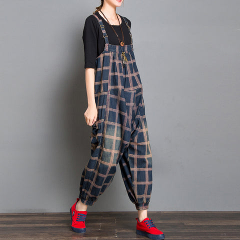 Large Plaid Printed Strap Denim Jumpsuit Overalls