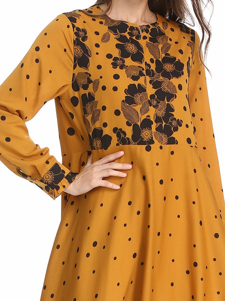 Large Size Printed Slim Dress