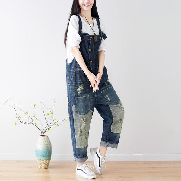 Loose Casual Denim Overalls Jumpsuit