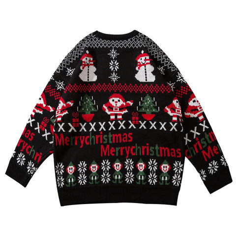 Christmas Sweater V-neck Loose Sweater Ugly Christmas Sweater