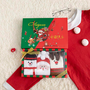 3 Pairs of Christmas Stocks with Gift Box