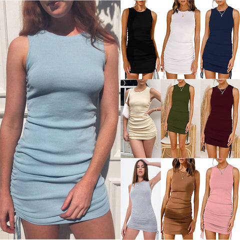 Women Fashion Summer Solid Sleeveless Drawstring Slim Round Neck Casual Ruched Bodycon Mini Short Dress