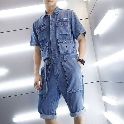 Men Retro Loose Short Sleeve Jacket One Piece Denim Pocket Jumpsuits Romper Ripped Jeans Overall Coverall Workwear Shorts