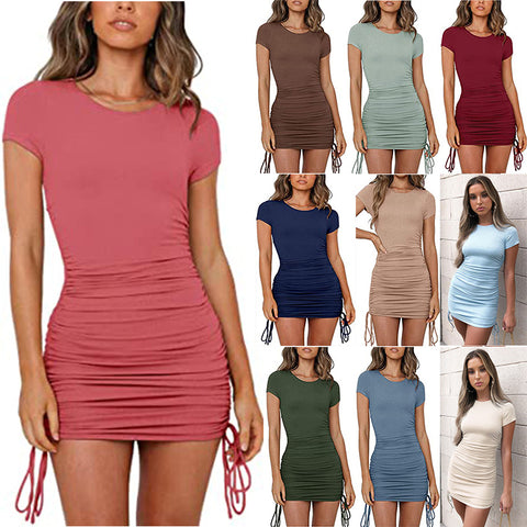 Women Fashion Solid Short Sleeve Drawstring Slim Round Neck Summer Casual Ruched Bodycon Mini Short Dress