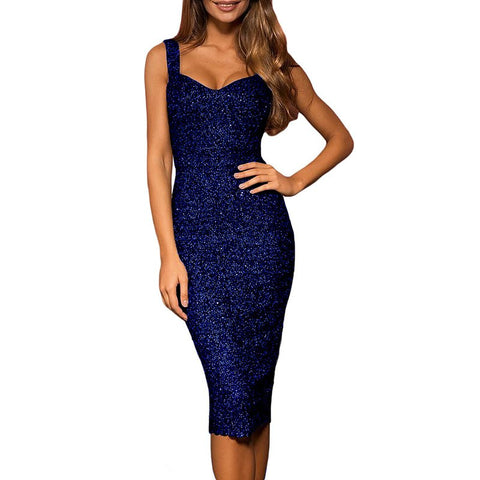 litter Sleeveless Party Bodycon Sequined Shinning Dress