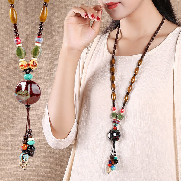 Handmade Long Retro Ethnic Style Necklace  Clothes Accessories