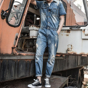 Men Retro Slim Short Sleeve Jacket One Piece Denim Jumpsuits Ripped Jeans Overall Coverall Workwear Pants