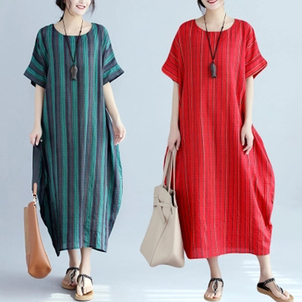 Plus Size Loose Stripe Short Sleeve Maxi Dress