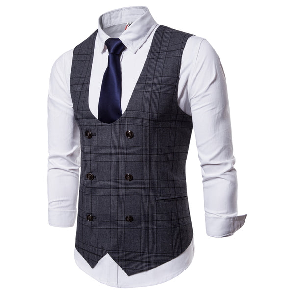 Plaid U Neck Double Breasted Waistcoat