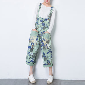 Thin Loose Casual Print Pants Wide Legs Jumpsuit Overalls