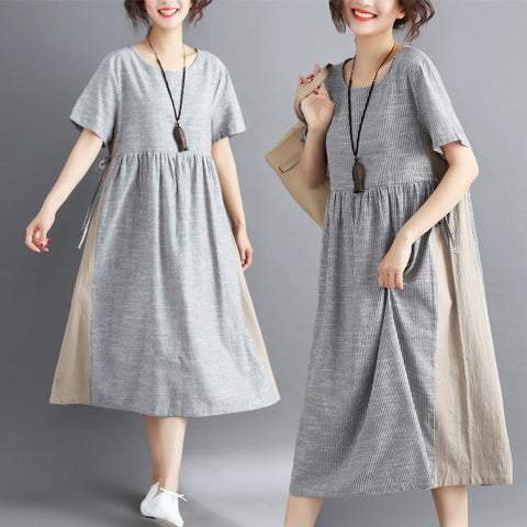Large Size Striped Loose Short Sleeve Cotton Dress