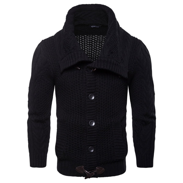 Cowl Neck Single Breasted Horn Button Cardigan