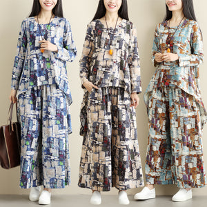 Loose Casual Print Retro Ethnic Wide Leg Pants Two-Piece Set