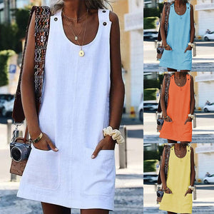 Women Plain Sleeveless Summer T-shirt Dress Tank Short Dress Pocket