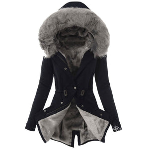 Women Snap Fastener Solid Faux Fur Warm Winter Zip Hooded Coat Outerwear Jacket Overcoat