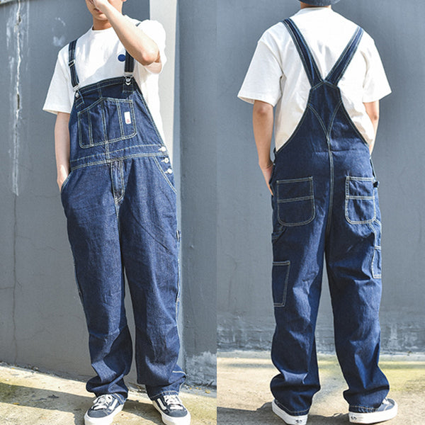 Men's Retro Tooling One Piece Denim Loose Jumpsuit Bib Jeans Pants Overalls Coveralls