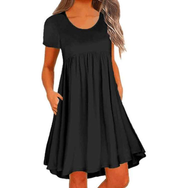 Pockets Round Neck Casual Solid Dresses 2019