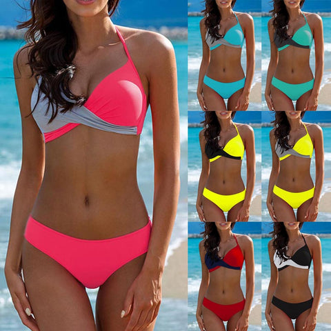 Women Padded Bikini Halter Bathing Suit Push Up Beach Swimwear Bikini Set