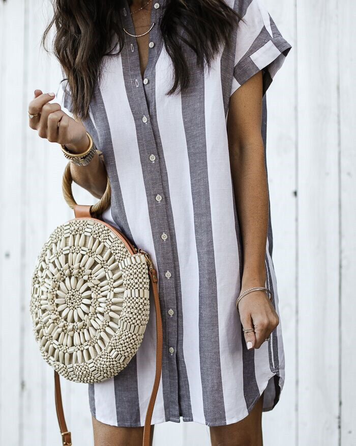 Shirt Collar Women Dresses Going Out Stripes Dresses