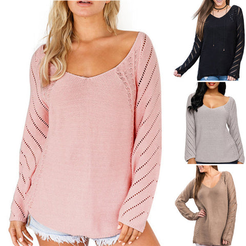 Large Size Long Sleeve V-neck Loose Sweater