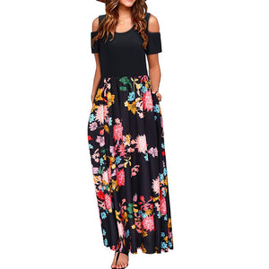Women Elegant Summer Cold Shoulder Floral Short Sleeve Sundress Casual Patchwork Boho Beach Long Maxi Dress with Pocket