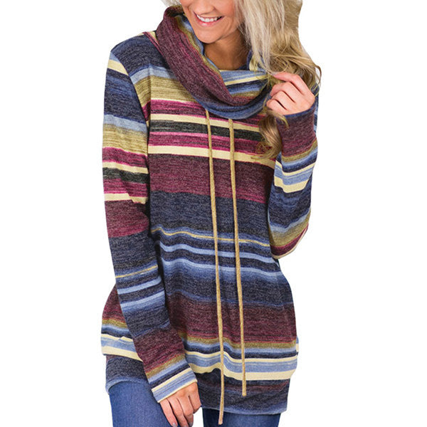 Multicolor Striped Pocket Long Sleeve Top