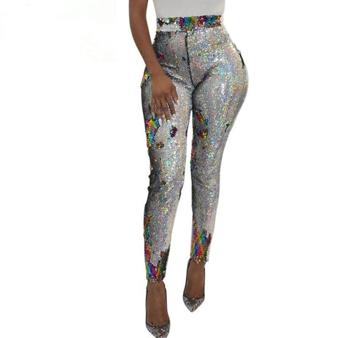 High Waist Retro Sequin Leggings Skinny Pants Party Trouser Patchwork Sequined Pencil Pants