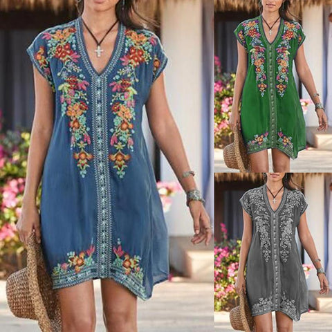 Summer Short Sleeve Shift Bohemian Dress