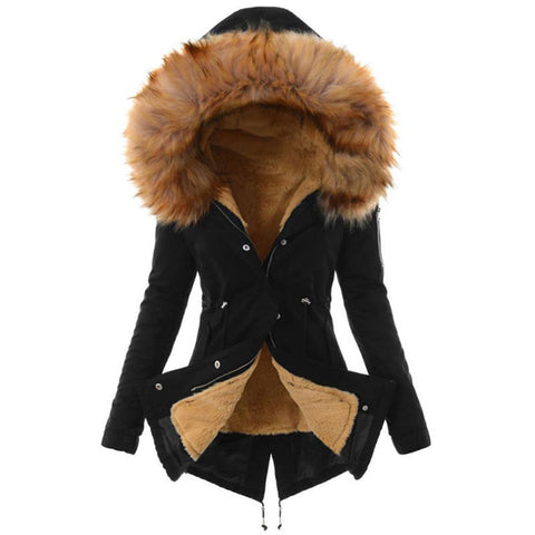 Women Slim-fit Warm Solid Faux Fur Hooded Zip Winter Coats Jacket Outerwear Overcoat