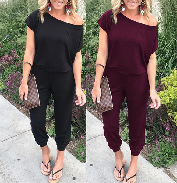 Fashion Shoulder Short Sleeve Pocket Jumpsuit
