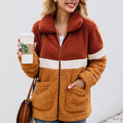 Fashion Zip Stitching Pocket Outerwear