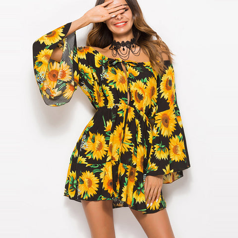 Fashion Sunflower Off The Shoulder Loose Strapless Bell Sleeve Mini Short Boho Party Dress