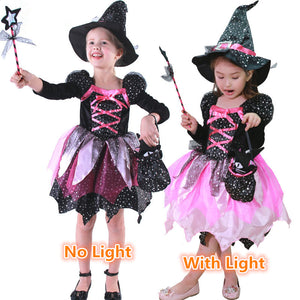 Halloween Costume Children's Costumes Cosplay Girls with Lights Witch Skirt Witch Costumes