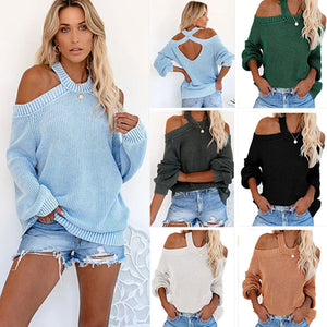 Women Plain Off-shoulder Criss-Cross Back Long Sleeve Loose Knitted Sweater