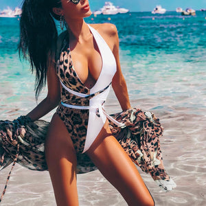 Leopard Patchwork Women Halter Lace Up V-neck One-piece Swimwear Bikini Bathing Suit
