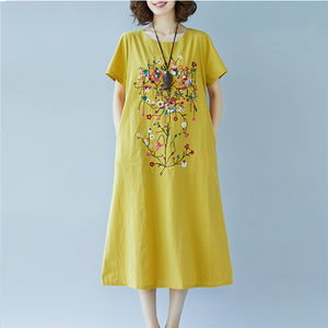Large Size Ethnic Embroidered Cotton Loose Dress