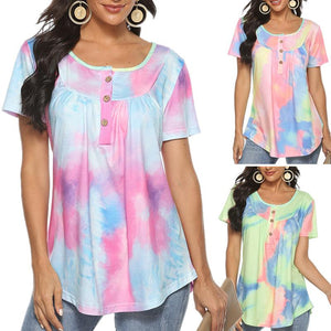 V-neck Button Gradient Tie-dye Loose Short-sleeved Top T-shirt