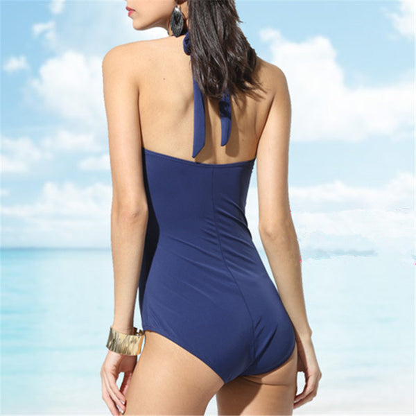 Plus Size Striped Retro Open Back High Waist One Piece Swimsuit