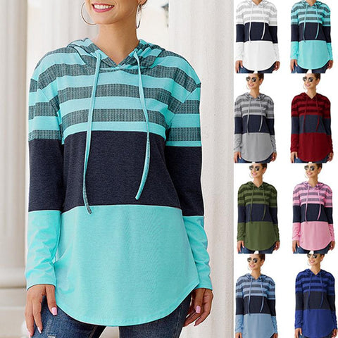 Women Fashion Stripe Color Block Long Sleeve Hooded Sweatshirts Hoodies Tops
