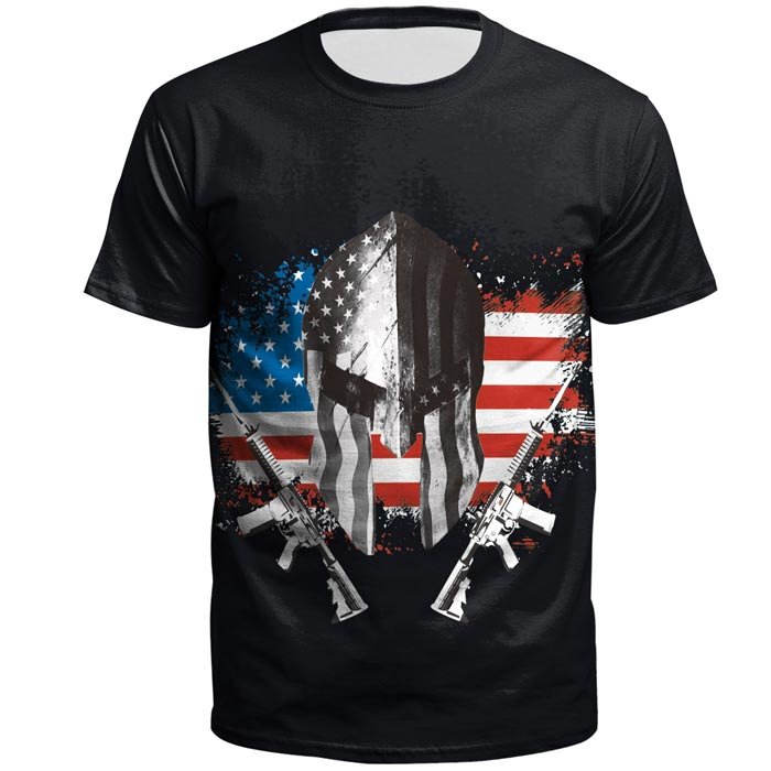 3D Flag Gun Printed Short Sleeve T-shirt