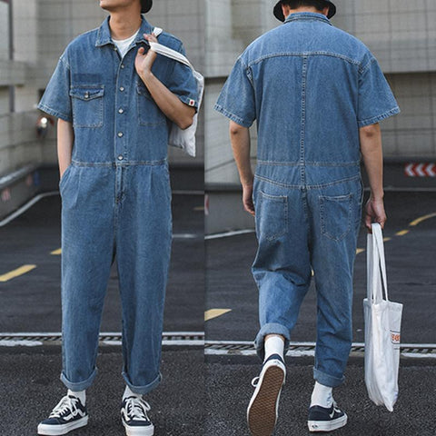 Men's Casual Retro Loose Jacket Short Sleeve One Piece Denim Jumpsuits