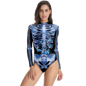 3D Human Skeleton Funny Print Bodycon Stretch Women Bodysuit