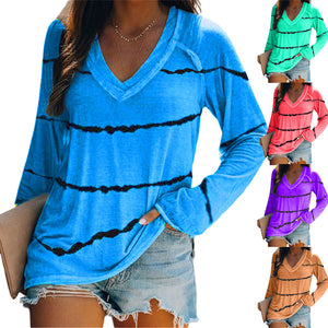 Women Tie Dye Stripe Printed V Neck Long Sleeve T-shirt Shirt Blouse Tops