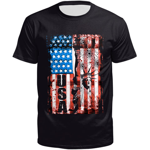 3D Flag Printed Short Sleeve T-shirt